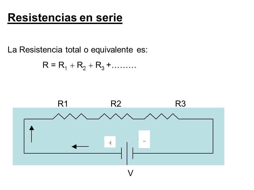 Resistencias en serie La Resistencia total o equivalente es: R = R1 R1 R2 R2 R 3 +……… R1 R2 R3 V