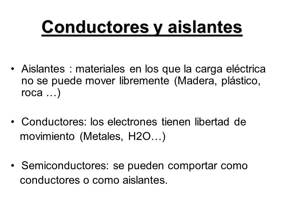 Conductores y aislantes Aislantes : materiales en los que la carga eléctrica no se puede mover libremente (Madera, plástico, roca …) Conductores: los electrones tienen libertad de movimiento (Metales, H2O…) Semiconductores: se pueden comportar como conductores o como aislantes.
