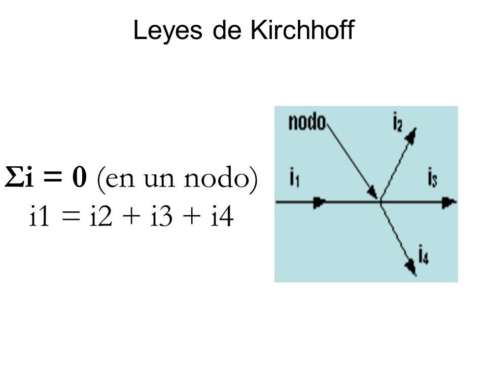 Leyes de Kirchhoff Σi = 0 (en un nodo) i1 = i2 + i3 + i4