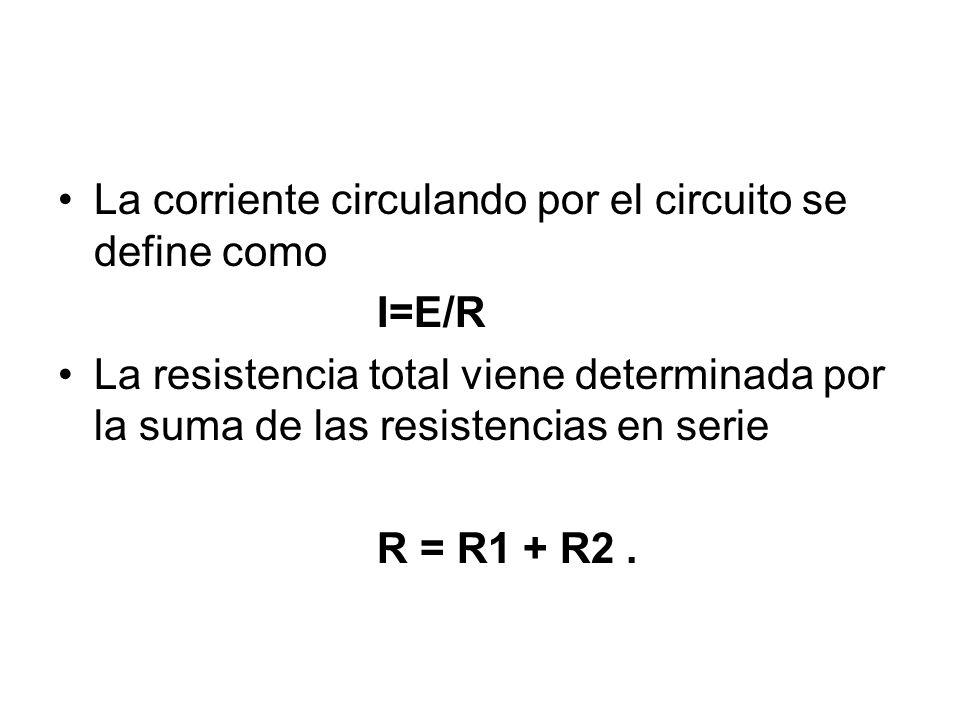 La corriente circulando por el circuito se define como I=E/R La resistencia total viene determinada por la suma de las resistencias en serie R = R1 + R2.