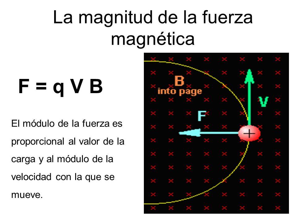 La magnitud de la fuerza magnética F = q V B El módulo de la fuerza es proporcional al valor de la carga y al módulo de la velocidad con la que se mueve.