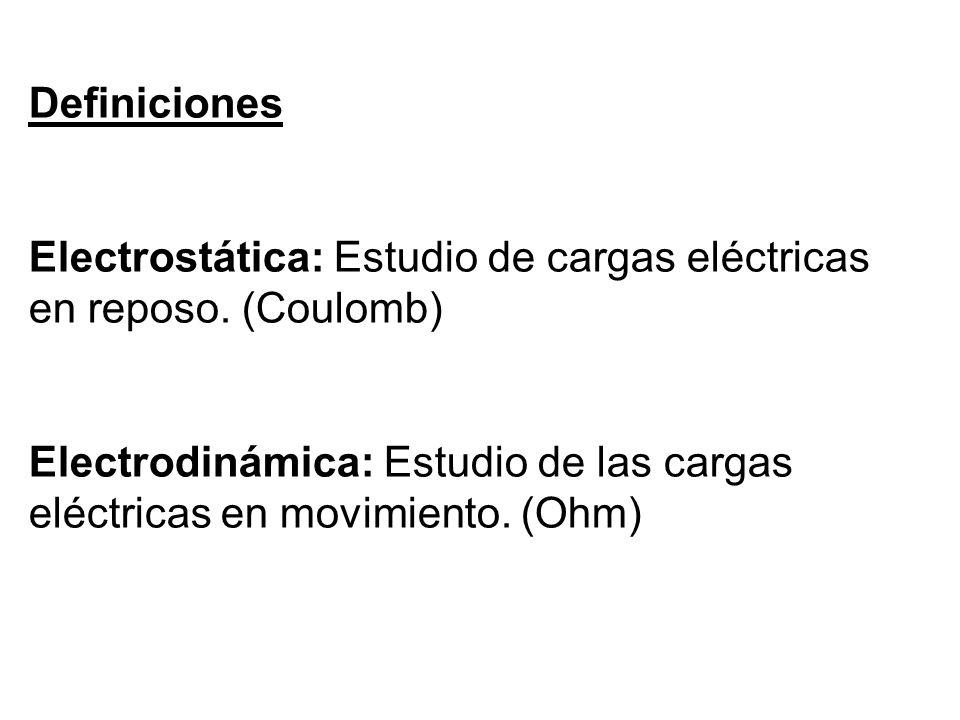 Definiciones Electrostática: Estudio de cargas eléctricas en reposo.