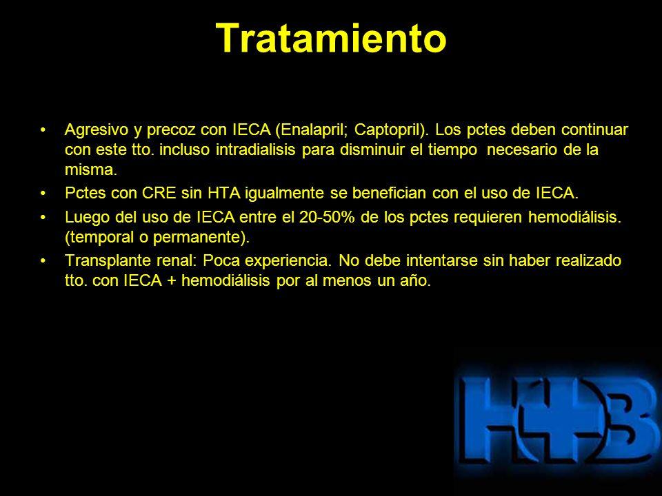 Tratamiento Agresivo y precoz con IECA (Enalapril; Captopril). Los pctes deben continuar con este tto. incluso intradialisis para disminuir el tiempo