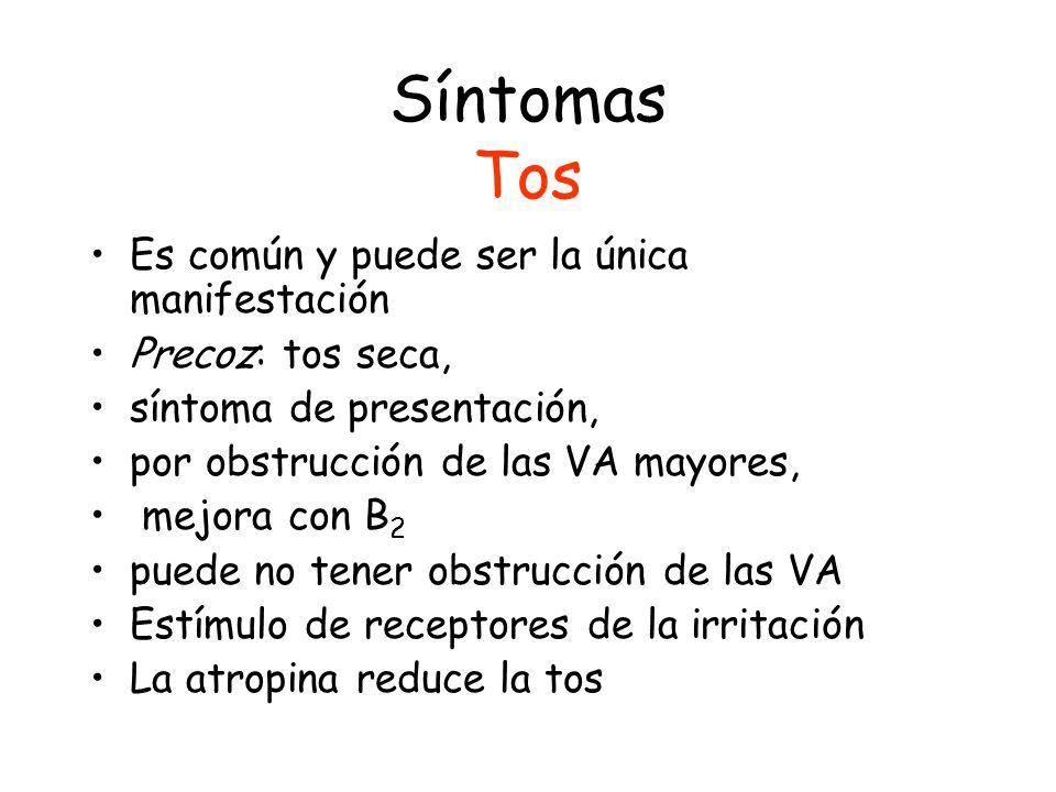 Síntomas Tos Es común y puede ser la única manifestación Precoz: tos seca, síntoma de presentación, por obstrucción de las VA mayores, mejora con B 2