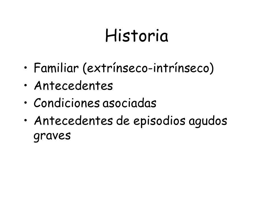 Historia Familiar (extrínseco-intrínseco) Antecedentes Condiciones asociadas Antecedentes de episodios agudos graves