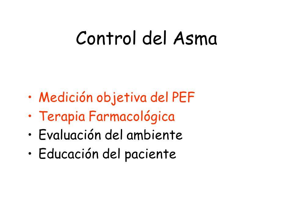 Control del Asma Medición objetiva del PEF Terapia Farmacológica Evaluación del ambiente Educación del paciente