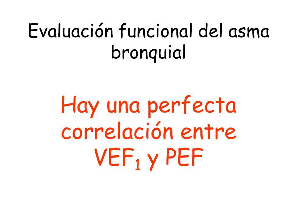 Evaluación funcional del asma bronquial Hay una perfecta correlación entre VEF 1 y PEF