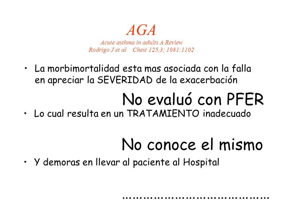 AGA Acute asthma in adults A Review Rodrigo J et al Chest 125,3; 1081:1102 La morbimortalidad esta mas asociada con la falla en apreciar la SEVERIDAD