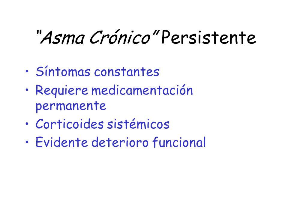 Asma Crónico Persistente Síntomas constantes Requiere medicamentación permanente Corticoides sistémicos Evidente deterioro funcional