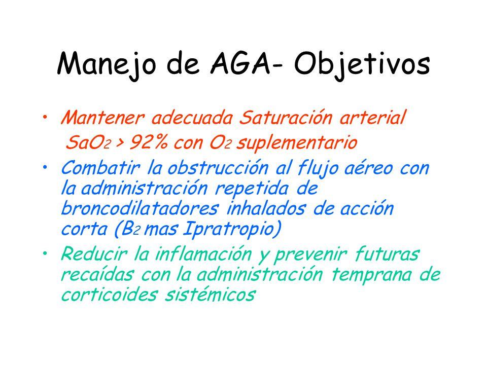 Manejo de AGA- Objetivos Mantener adecuada Saturación arterial SaO 2 > 92% con O 2 suplementario Combatir la obstrucción al flujo aéreo con la adminis