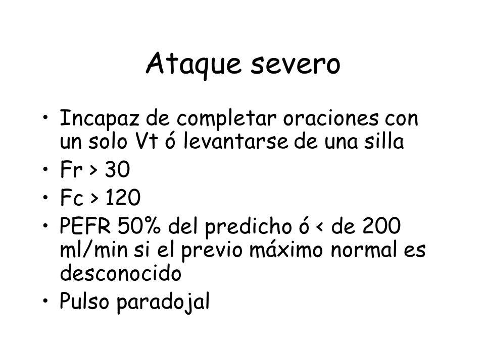 Ataque severo Incapaz de completar oraciones con un solo Vt ó levantarse de una silla Fr > 30 Fc > 120 PEFR 50% del predicho ó < de 200 ml/min si el previo máximo normal es desconocido Pulso paradojal