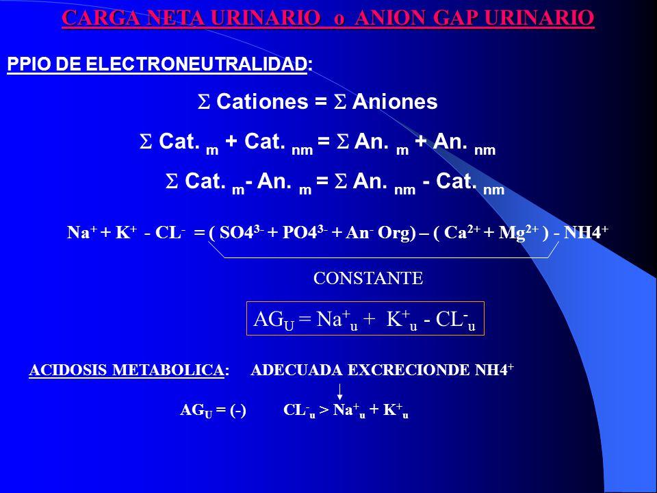 PPIO DE ELECTRONEUTRALIDAD: Cationes = Aniones Cat.