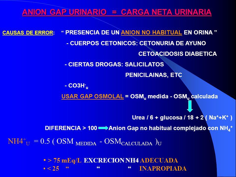ANION GAP URINARIO = CARGA NETA URINARIA CAUSAS DE ERROR: PRESENCIA DE UN ANION NO HABITUAL EN ORINA - CUERPOS CETONICOS: CETONURIA DE AYUNO CETOACIDOSIS DIABETICA - CIERTAS DROGAS: SALICILATOS PENICILAINAS, ETC - CO3H - u USAR GAP OSMOLAL = OSM u medida - OSM u calculada Urea / 6 + glucosa / 18 + 2 ( Na + +K + ) DIFERENCIA > 100 Anion Gap no habitual complejado con NH 4 + NH4 + U = 0.5 ( OSM MEDIDA - OSM CALCULADA ) U > 75 mEq/L EXCRECION NH4 ADECUADA < 25 INAPROPIADA