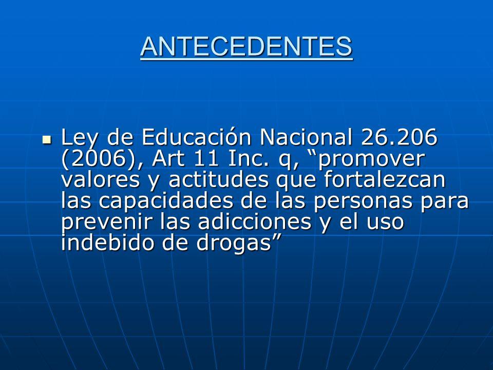 ANTECEDENTES Ley de Educación Nacional 26.206 (2006), Art 11 Inc.