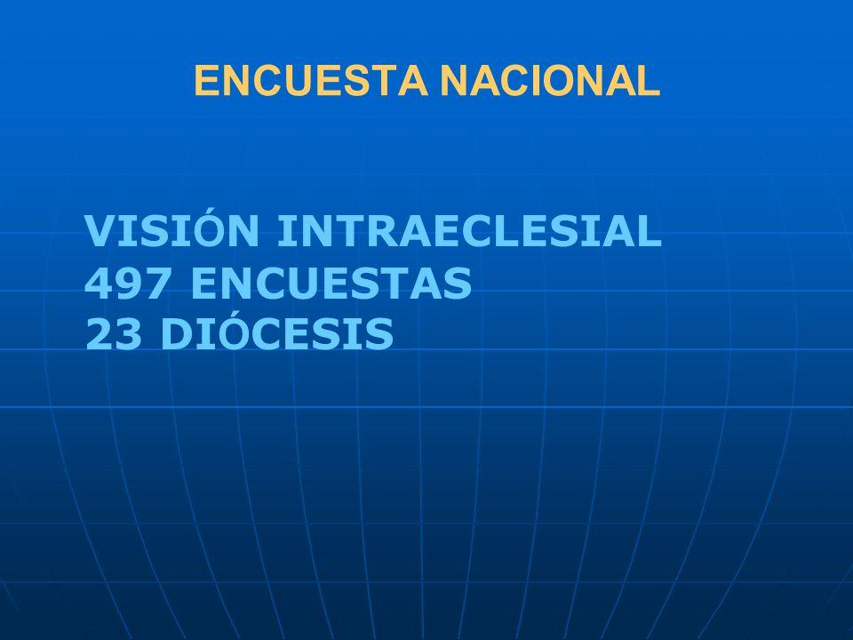 ENCUESTA NACIONAL VISI Ó N INTRAECLESIAL 497 ENCUESTAS 23 DI Ó CESIS