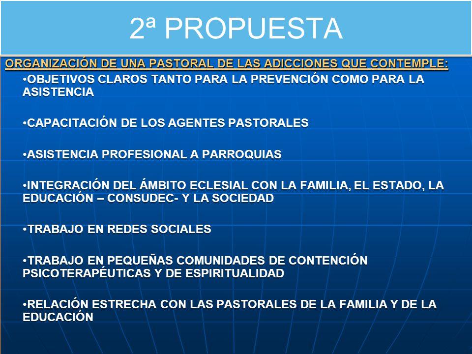 2ª PROPUESTA ORGANIZACIÓN DE UNA PASTORAL DE LAS ADICCIONES QUE CONTEMPLE: OBJETIVOS CLAROS TANTO PARA LA PREVENCIÓN COMO PARA LA ASISTENCIA CAPACITACIÓN DE LOS AGENTES PASTORALES ASISTENCIA PROFESIONAL A PARROQUIAS INTEGRACIÓN DEL ÁMBITO ECLESIAL CON LA FAMILIA, EL ESTADO, LA EDUCACIÓN – CONSUDEC- Y LA SOCIEDAD TRABAJO EN REDES SOCIALES TRABAJO EN PEQUEÑAS COMUNIDADES DE CONTENCIÓN PSICOTERAPÉUTICAS Y DE ESPIRITUALIDAD RELACIÓN ESTRECHA CON LAS PASTORALES DE LA FAMILIA Y DE LA EDUCACIÓN ORGANIZACIÓN DE UNA PASTORAL DE LAS ADICCIONES QUE CONTEMPLE: OBJETIVOS CLAROS TANTO PARA LA PREVENCIÓN COMO PARA LA ASISTENCIA CAPACITACIÓN DE LOS AGENTES PASTORALES ASISTENCIA PROFESIONAL A PARROQUIAS INTEGRACIÓN DEL ÁMBITO ECLESIAL CON LA FAMILIA, EL ESTADO, LA EDUCACIÓN – CONSUDEC- Y LA SOCIEDAD TRABAJO EN REDES SOCIALES TRABAJO EN PEQUEÑAS COMUNIDADES DE CONTENCIÓN PSICOTERAPÉUTICAS Y DE ESPIRITUALIDAD RELACIÓN ESTRECHA CON LAS PASTORALES DE LA FAMILIA Y DE LA EDUCACIÓN