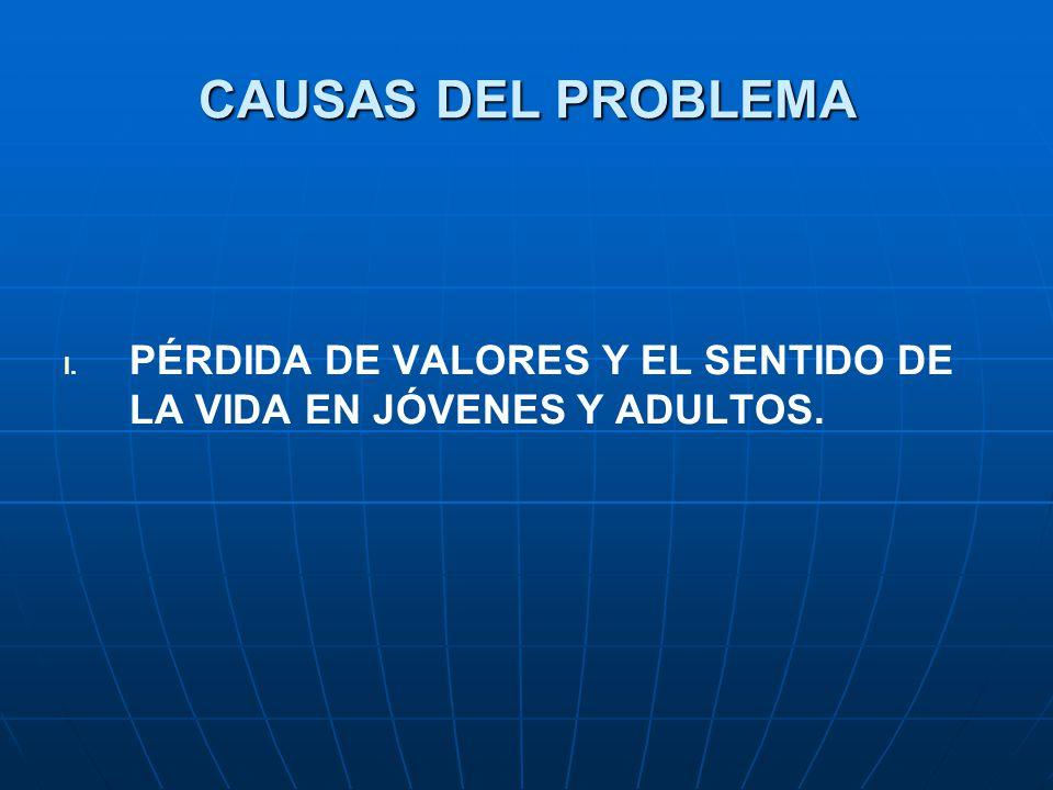 CAUSAS DEL PROBLEMA I. I. PÉRDIDA DE VALORES Y EL SENTIDO DE LA VIDA EN JÓVENES Y ADULTOS.