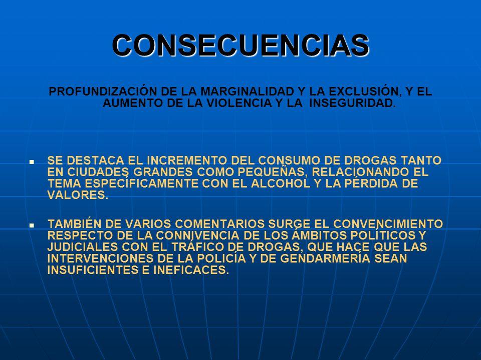 CONSECUENCIAS PROFUNDIZACIÓN DE LA MARGINALIDAD Y LA EXCLUSIÓN, Y EL AUMENTO DE LA VIOLENCIA Y LA INSEGURIDAD.