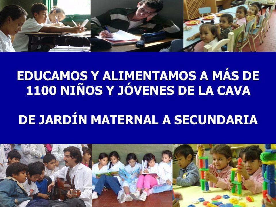 EDUCAMOS Y ALIMENTAMOS A MÁS DE 1100 NIÑOS Y JÓVENES DE LA CAVA DE JARDÍN MATERNAL A SECUNDARIA
