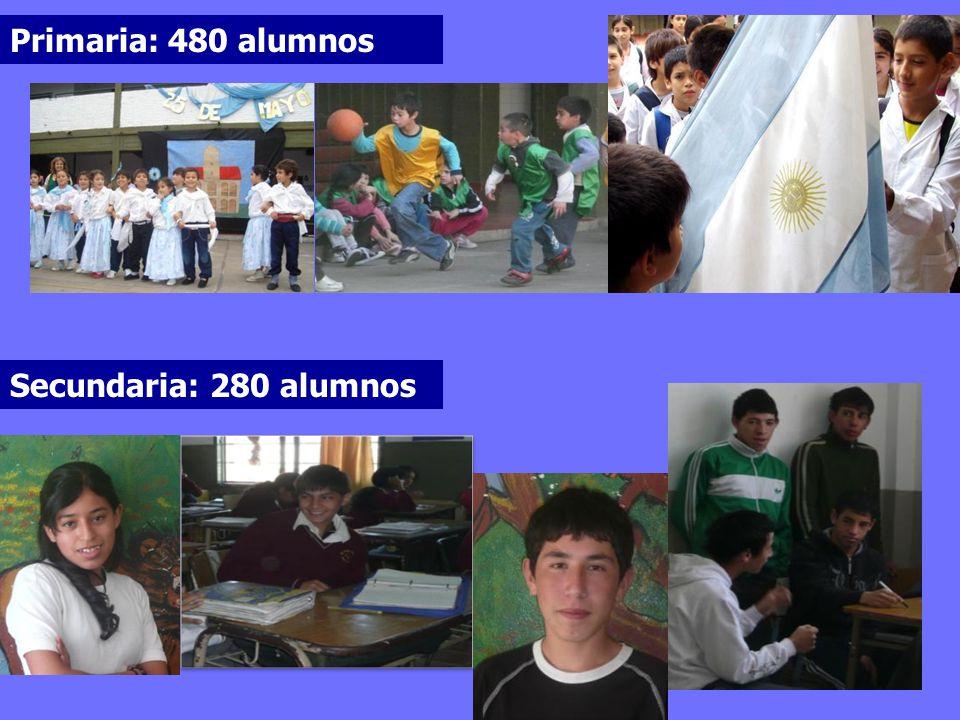 Primaria: 480 alumnos Secundaria: 280 alumnos