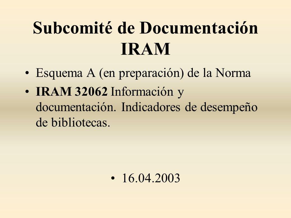 Subcomité de Documentación IRAM Esquema A (en preparación) de la Norma IRAM 32062 Información y documentación. Indicadores de desempeño de bibliotecas