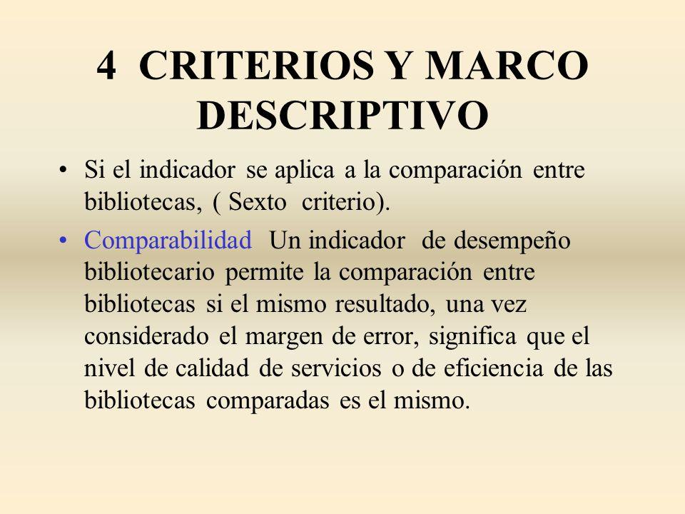 4 CRITERIOS Y MARCO DESCRIPTIVO Si el indicador se aplica a la comparación entre bibliotecas, ( Sexto criterio). Comparabilidad Un indicador de desemp