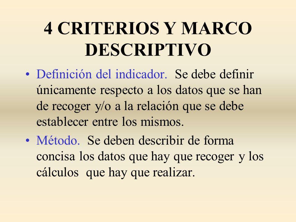 4 CRITERIOS Y MARCO DESCRIPTIVO Definición del indicador. Se debe definir únicamente respecto a los datos que se han de recoger y/o a la relación que