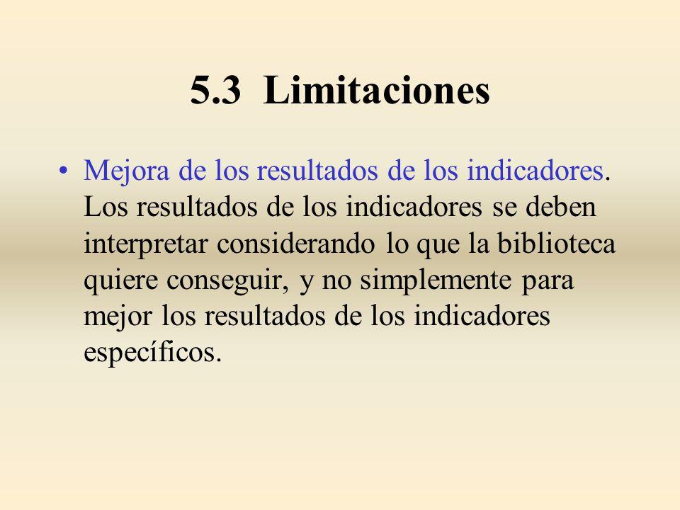 5.3 Limitaciones Mejora de los resultados de los indicadores. Los resultados de los indicadores se deben interpretar considerando lo que la biblioteca