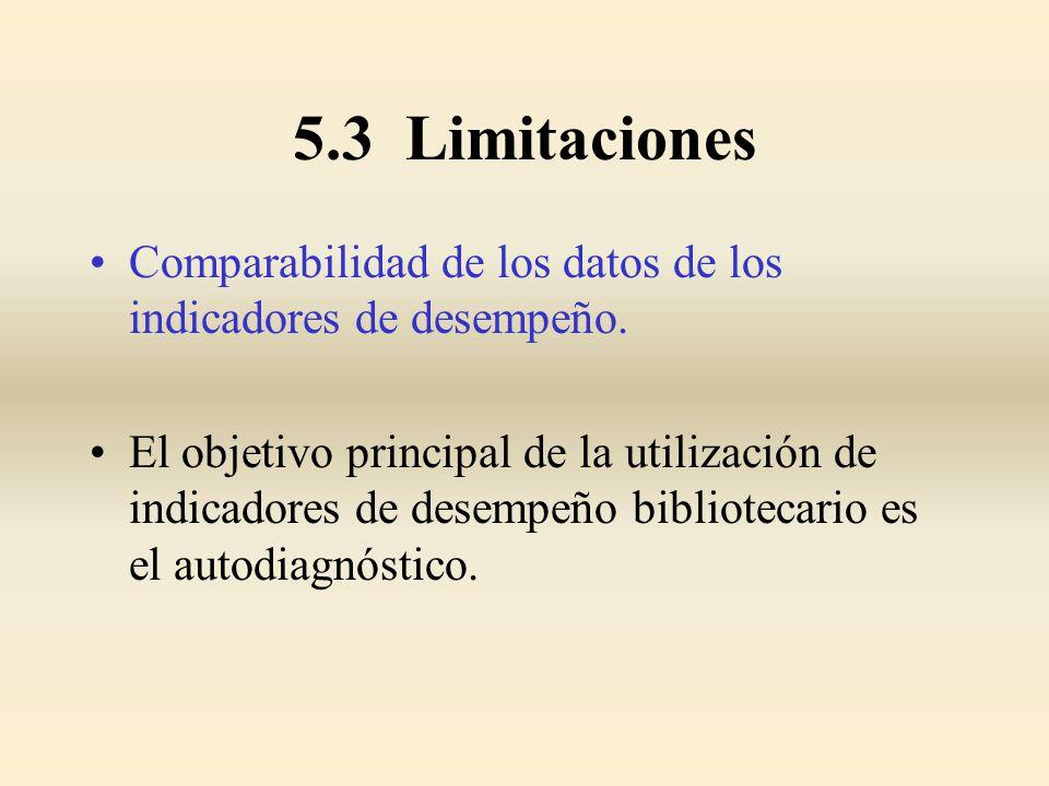 5.3 Limitaciones Comparabilidad de los datos de los indicadores de desempeño. El objetivo principal de la utilización de indicadores de desempeño bibl