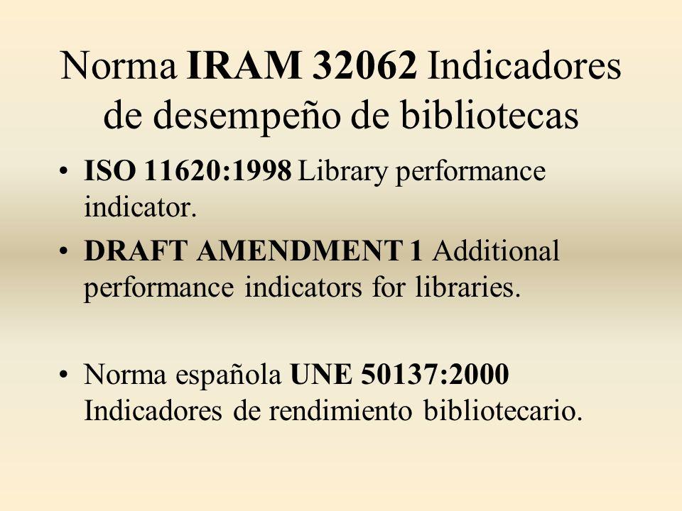 Norma IRAM 32062 Indicadores de desempeño de bibliotecas ISO 11620:1998 Library performance indicator. DRAFT AMENDMENT 1 Additional performance indica