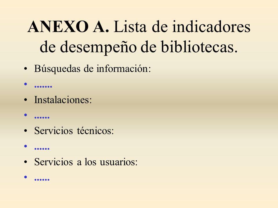 ANEXO A. Lista de indicadores de desempeño de bibliotecas. Búsquedas de información:....... Instalaciones:...... Servicios técnicos:...... Servicios a
