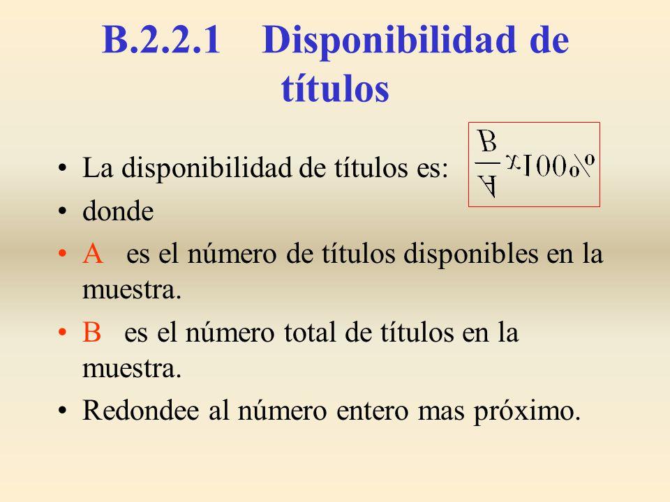 B.2.2.1 Disponibilidad de títulos La disponibilidad de títulos es: donde A es el número de títulos disponibles en la muestra. B es el número total de