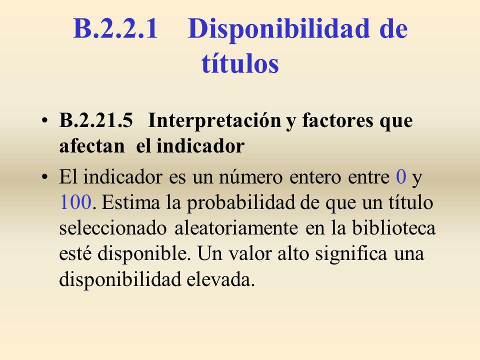 B.2.21.5 Interpretación y factores que afectan el indicador El indicador es un número entero entre 0 y 100. Estima la probabilidad de que un título se