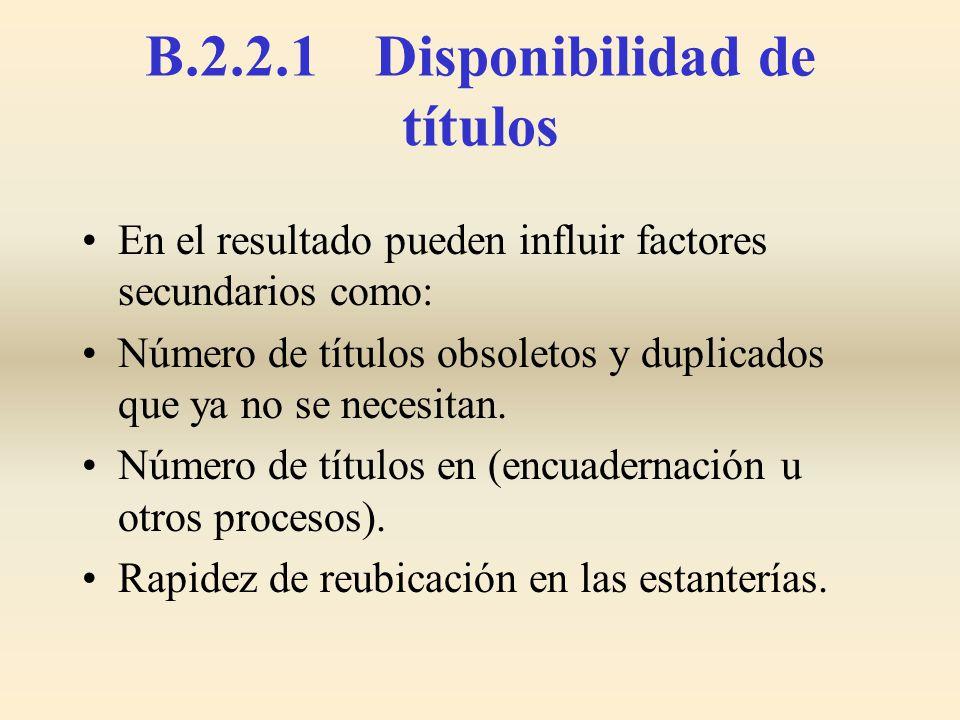 B.2.2.1 Disponibilidad de títulos En el resultado pueden influir factores secundarios como: Número de títulos obsoletos y duplicados que ya no se nece