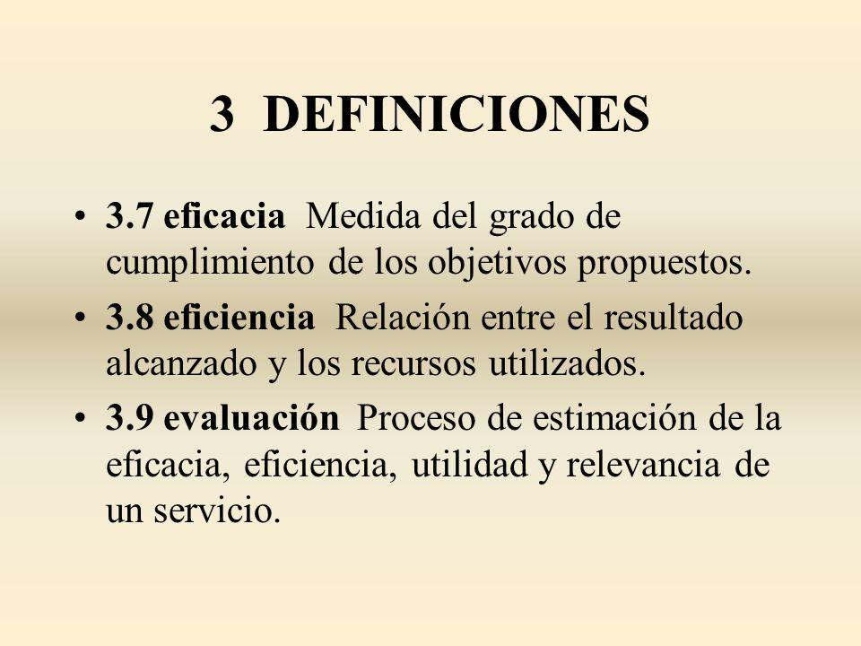 3 DEFINICIONES 3.7 eficacia Medida del grado de cumplimiento de los objetivos propuestos. 3.8 eficiencia Relación entre el resultado alcanzado y los r