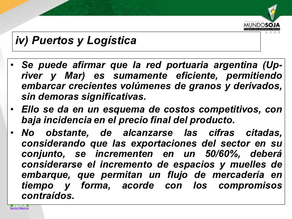 iv) Puertos y Logística Se puede afirmar que la red portuaria argentina (Up- river y Mar) es sumamente eficiente, permitiendo embarcar crecientes volúmenes de granos y derivados, sin demoras significativas.