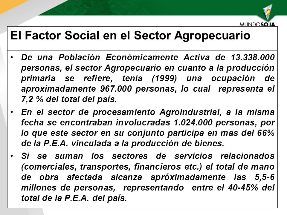 El Factor Social en el Sector Agropecuario De una Población Económicamente Activa de 13.338.000 personas, el sector Agropecuario en cuanto a la producción primaria se refiere, tenía (1999) una ocupación de aproximadamente 967.000 personas, lo cual representa el 7,2 % del total del país.