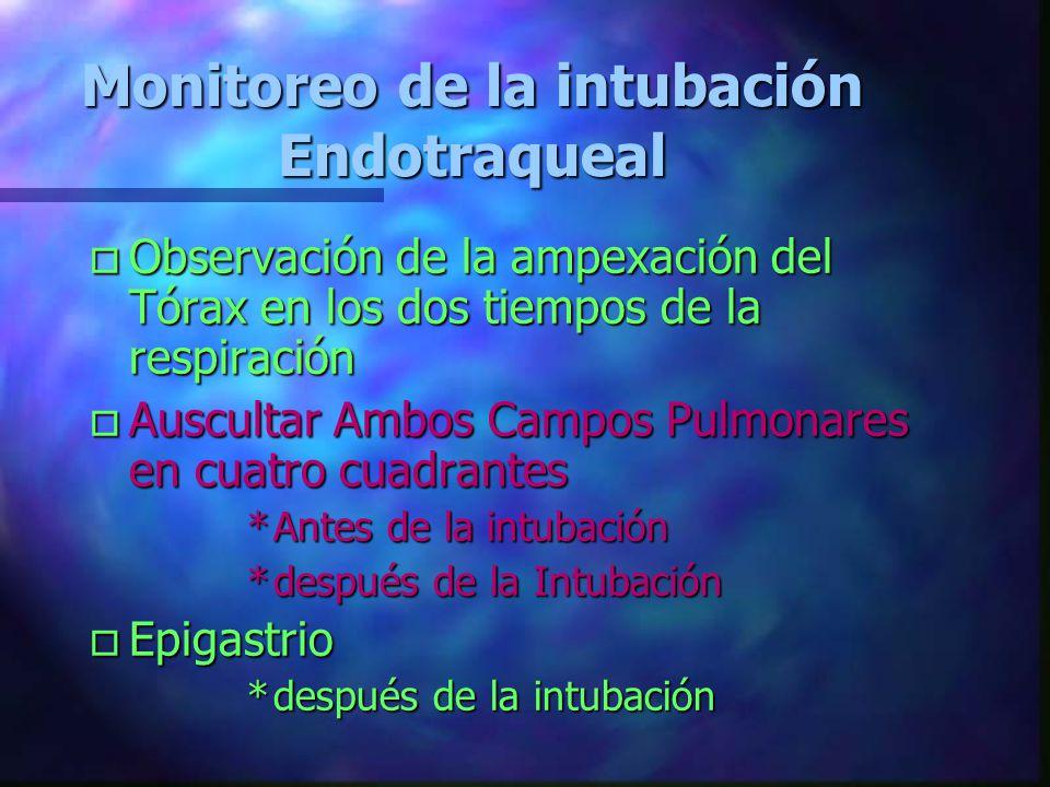 Indicaciones de la intubación orotraqueal o Absoluta UInconciente en apnea o Relativas UAlteraciones de la conciencia sin reflejo nauseoso UImposibili