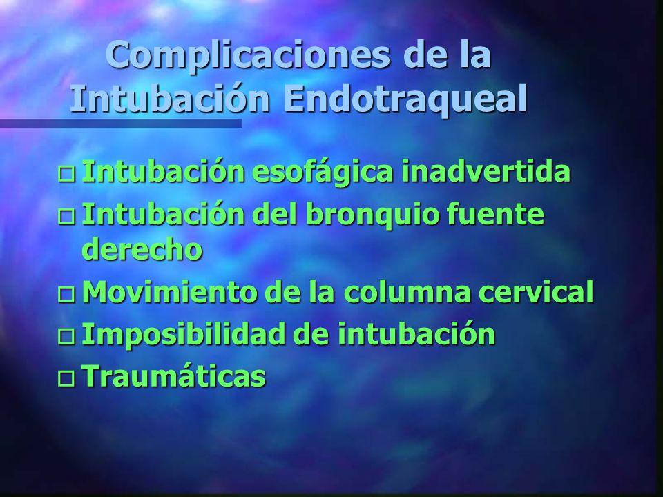 Contraindicaciones de la Intubación Orotraqueal oPoPoPoPresencia de reflejo nauseoso oIoIoIoImposibilidad para intubar sin hiperextender el cuello oIoIoIoIncapacidad para intubar oLoLoLoLesión maxilofacial oEoEoEoEdema de Glotis