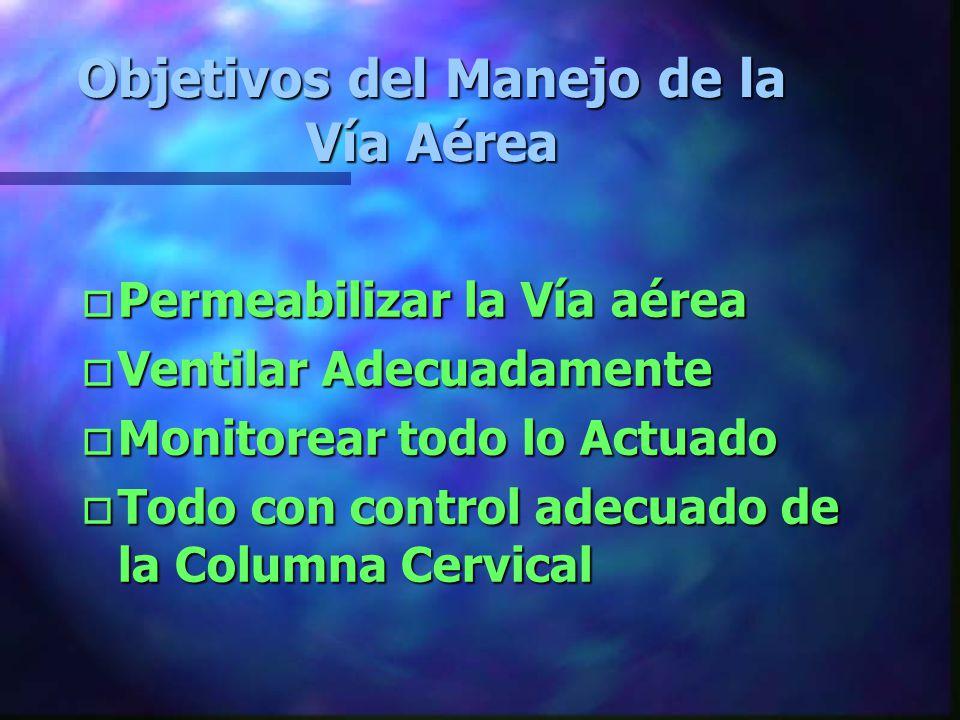 Objetivos del Manejo de la Vía Aérea oPoPoPoPermeabilizar la Vía aérea oVoVoVoVentilar Adecuadamente oMoMoMoMonitorear todo lo Actuado oToToToTodo con control adecuado de la Columna Cervical