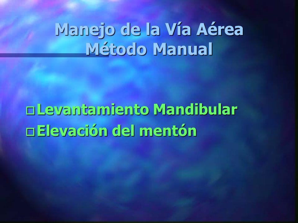 Manejo de la Vía Aérea Método Manual o Levantamiento o Levantamiento Mandibular o Elevación o Elevación del mentón