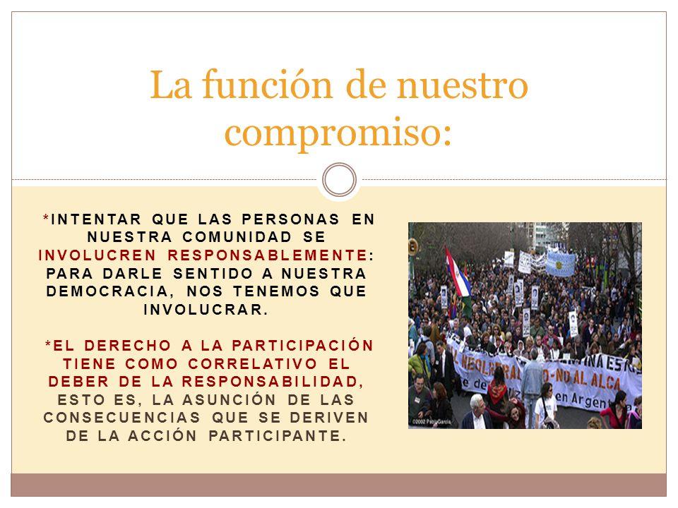 *INTENTAR QUE LAS PERSONAS EN NUESTRA COMUNIDAD SE INVOLUCREN RESPONSABLEMENTE: PARA DARLE SENTIDO A NUESTRA DEMOCRACIA, NOS TENEMOS QUE INVOLUCRAR.