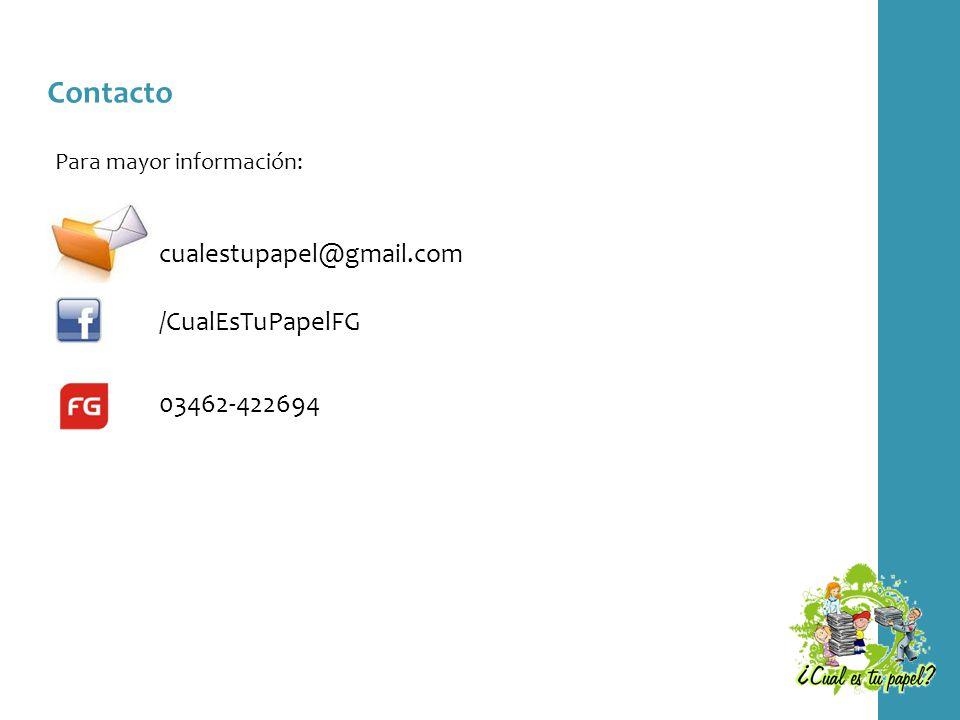 Contacto Para mayor información: /CualEsTuPapelFG 03462-422694 cualestupapel@gmail.com