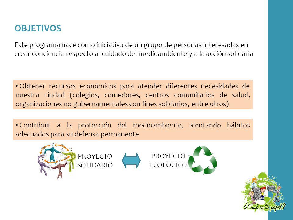 OBJETIVOS Este programa nace como iniciativa de un grupo de personas interesadas en crear conciencia respecto al cuidado del medioambiente y a la acci