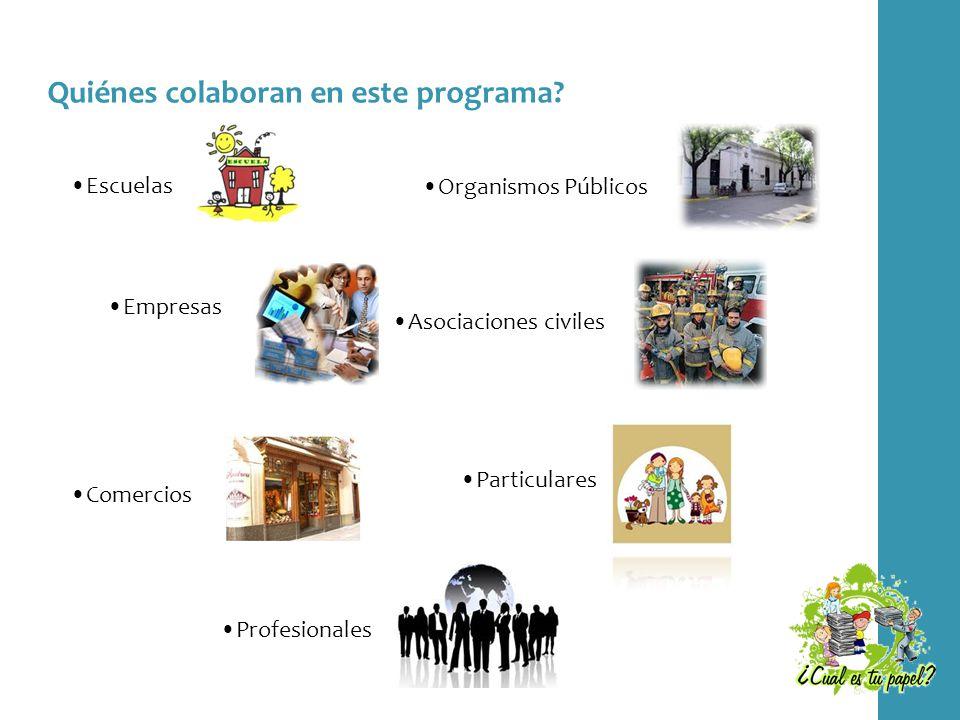 Quiénes colaboran en este programa? Escuelas Empresas Comercios Profesionales Particulares Asociaciones civiles Organismos Públicos