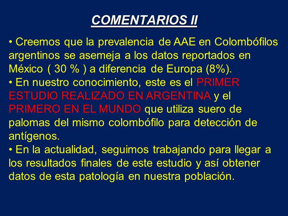 Creemos que la prevalencia de AAE en Colombófilos argentinos se asemeja a los datos reportados en México ( 30 % ) a diferencia de Europa (8%). En nues