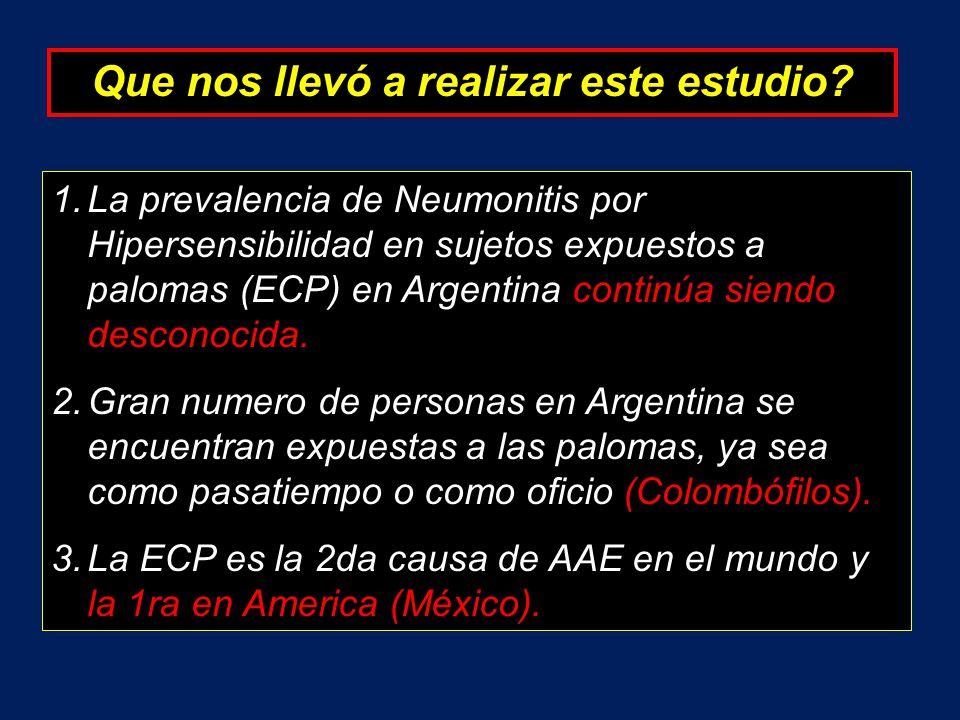 Que nos llevó a realizar este estudio? 1.La prevalencia de Neumonitis por Hipersensibilidad en sujetos expuestos a palomas (ECP) en Argentina continúa