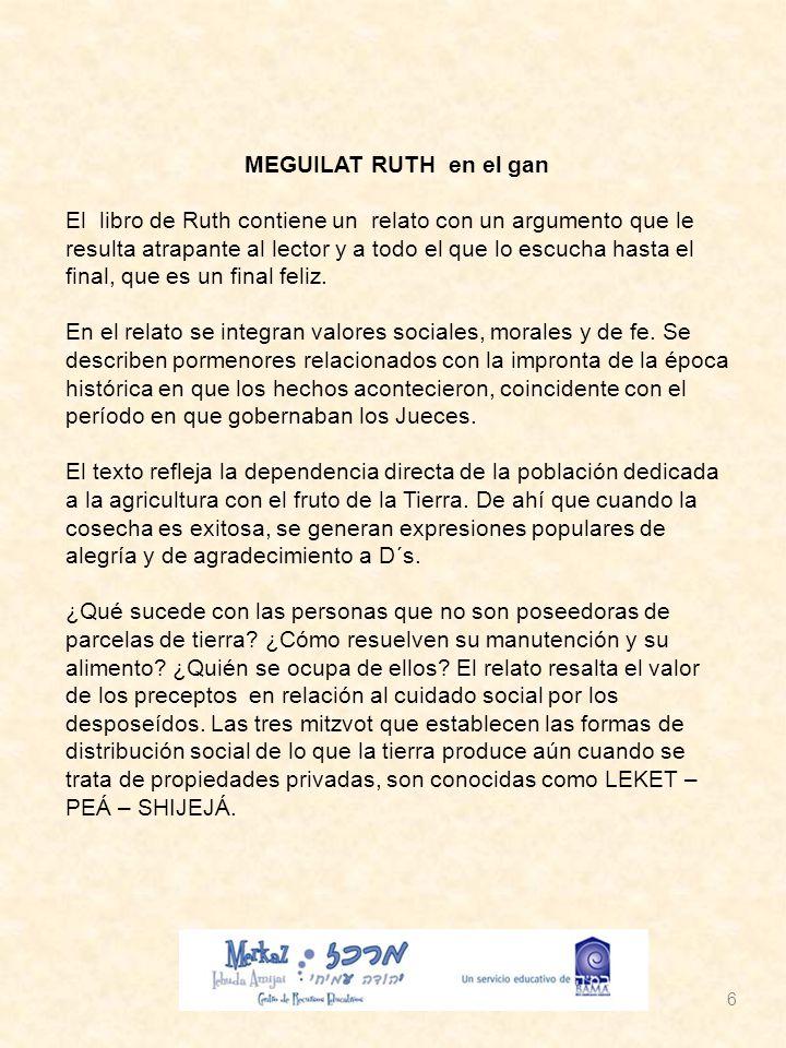 MEGUILAT RUTH en el gan El libro de Ruth contiene un relato con un argumento que le resulta atrapante al lector y a todo el que lo escucha hasta el final, que es un final feliz.