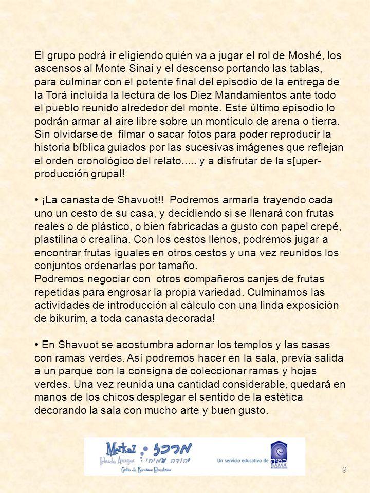 10 Con estas actividades sugeridas, esperamos que puedan recrear los contenidos de Shavuot trayendo la festividad al presente y a nuestra realidad, tal como se sugería al comienzo de este texto.