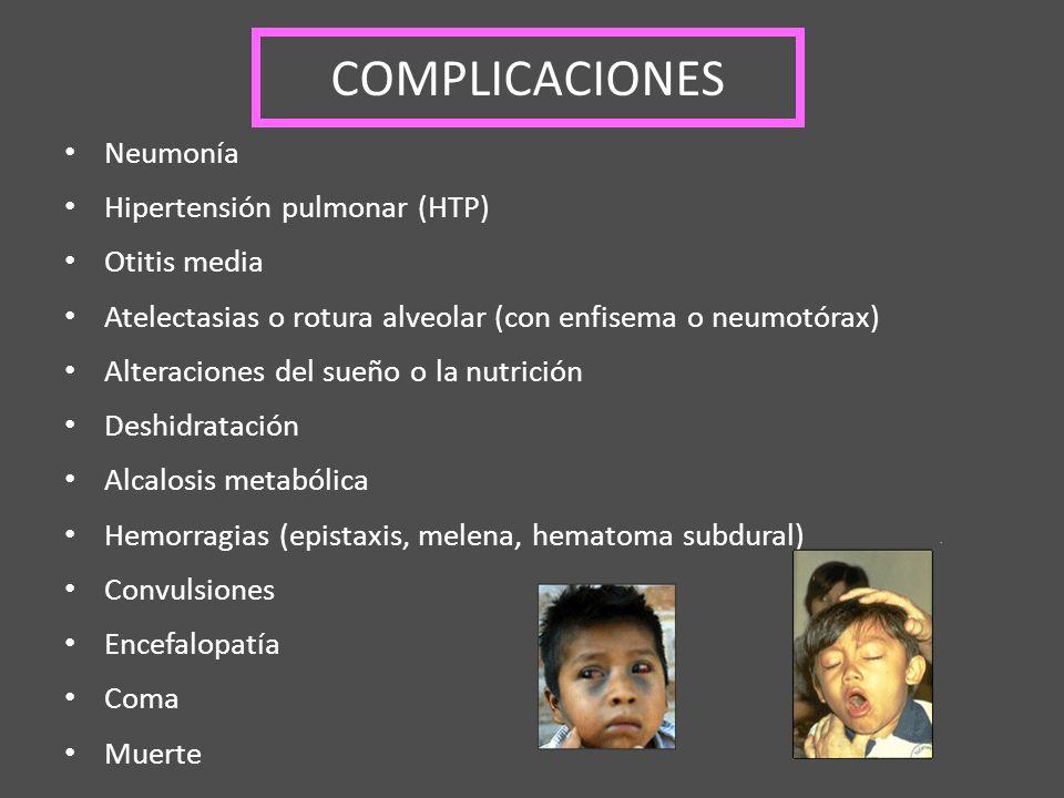 COMPLICACIONES Neumonía Hipertensión pulmonar (HTP) Otitis media Atelectasias o rotura alveolar (con enfisema o neumotórax) Alteraciones del sueño o l